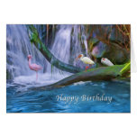 Birthday, Tropical Waterfall, Flamingos, Ibis Cards