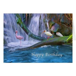 Birthday, Tropical Waterfall, Flamingos, Ibis Greeting Card