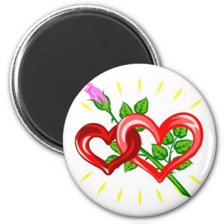 Birthday,Two Hearts linked with a Pink Rose 2 Inch Round Magnet