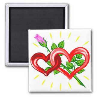 Birthday,Two Hearts linked with a Pink Rose 2 Inch Square Magnet