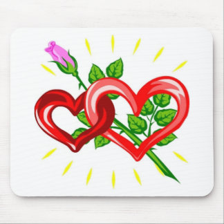 Birthday,Two Hearts linked with a Pink Rose Mouse Pad