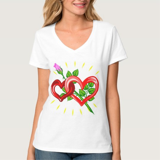 Birthday,Two Hearts linked with a Pink Rose T-Shirt