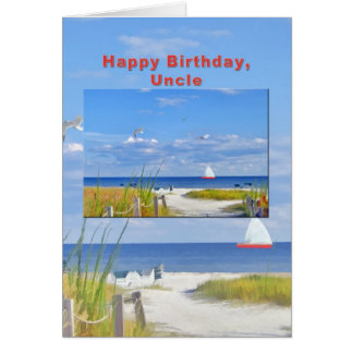 Birthday, Uncle, Beach and Ocean View Card