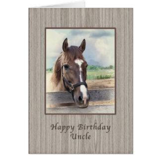Birthday, Uncle, Brown Horse with Bridle Card