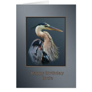 Birthday, Uncle, Great Blue Heron Bird, Card
