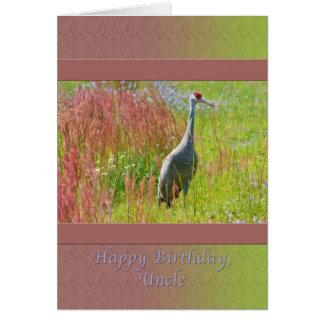 Birthday, Uncle,  Sandhill Crane Bird Card