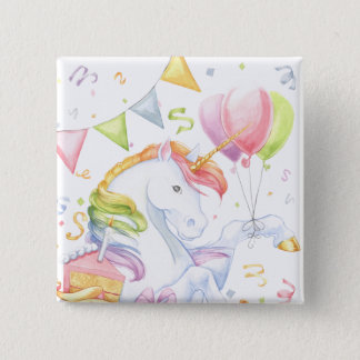 Birthday Unicorn Pinback Button