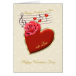 Birthday, Valentine's Day - Music, Heart and Rose Card