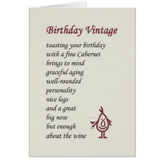 Birthday Vintage - a funny birthday poem Card