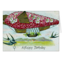 Birthday Vintage Blimp and Bluebirds Greeting Cards