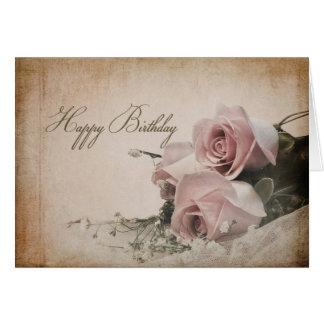 BIRTHDAY - VINTAGE ROSES - CARD