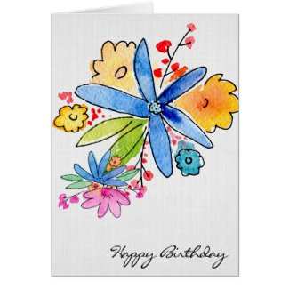 birthday watercolor floral bouquet card