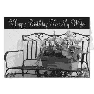 Birthday, wife, iron bench, basket of flowers. card