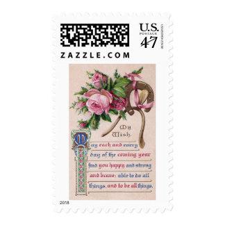 Birthday Wish, Roses and Horseshoe Postage