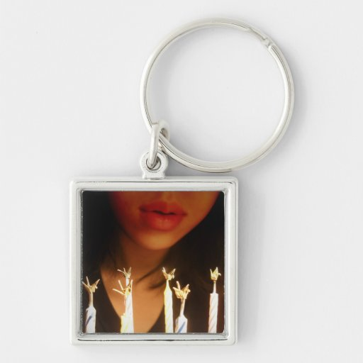 Birthday Wish Silver-Colored Square Keychain
