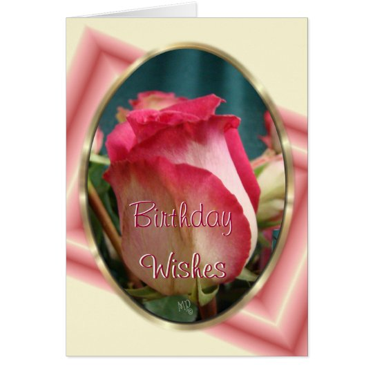 Birthday Wishes Bi-Color Rose- customize occasion Card