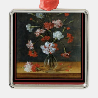 Birthday Wishes - Carnations In A Glass Vase Metal Ornament