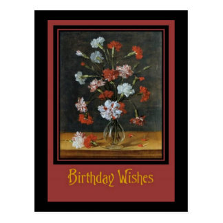 Birthday Wishes - Carnations In A Glass Vase Postcard