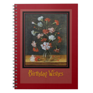 Birthday Wishes - Carnations In A Glass Vase Spiral Notebook