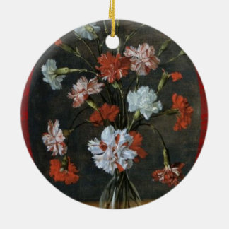 Birthday Wishes - Carnations With Oval Mount Ceramic Ornament