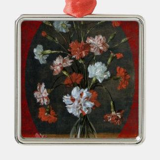 Birthday Wishes - Carnations With Oval Mount Metal Ornament