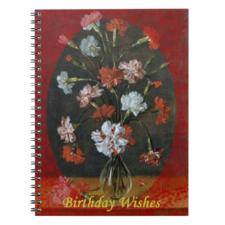Birthday Wishes - Carnations With Oval Mount Spiral Notebook