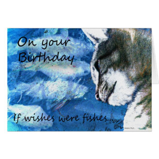 Birthday Wishes Cat and Fishes Cards