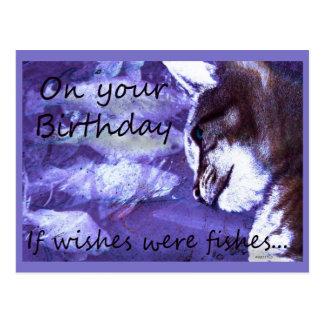 Birthday Wishes Cat and Fishes Postcard