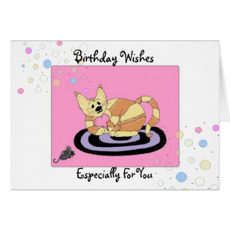Birthday Wishes Cat on a Mat Card