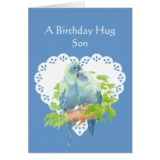 Birthday Wishes for Son from Mother Parrot Bird Card