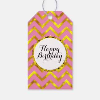 Birthday wishes girly pink gold gift tags