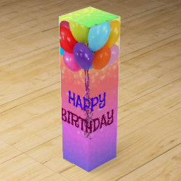 Birthday Wishes, Rainbow Colors Wine Box
