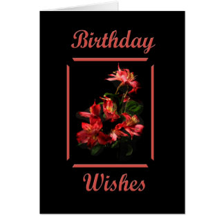 Birthday Wishes Red Lilies Cards