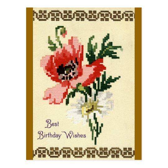 Birthday Wishes Repro Vintage 1911 Postcard