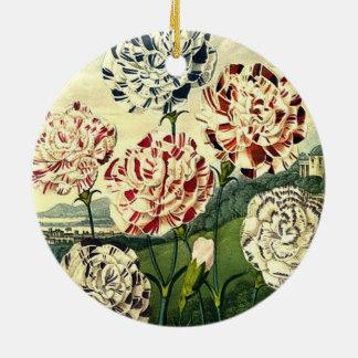 Birthday Wishes - Striped Carnation Ceramic Ornament
