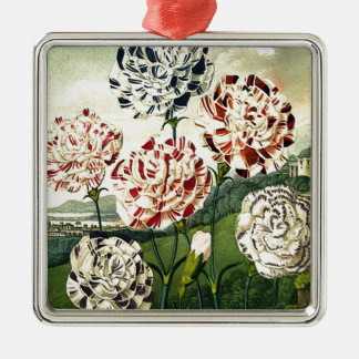 Birthday Wishes - Striped Carnation Metal Ornament