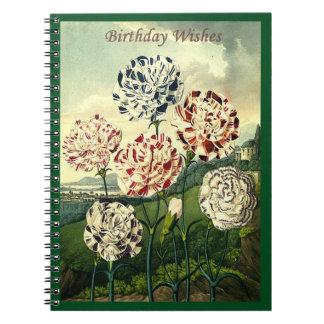 Birthday Wishes - Striped Carnation Notebook
