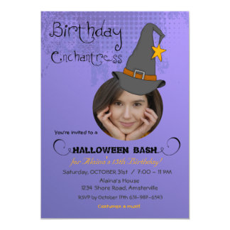 "Birthday Witch Halloween Photo Invitation 5"" X 7"" Invitation Card"