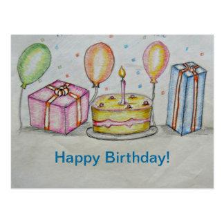 Birthday with balloons postcard