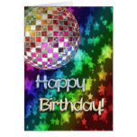 Birthday with disco ball and rainbow of stars card