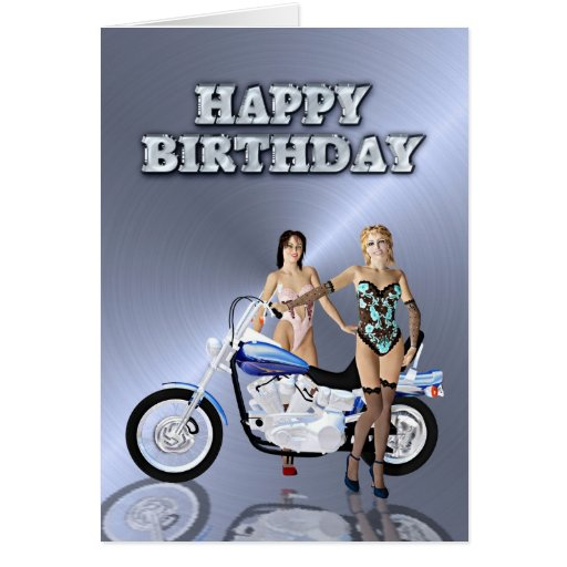 Birthday with girls and a motorcycle greeting cards
