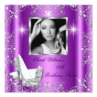 "Birthday Women's Magenta Silver Heels Photo 5.25"" Square Invitation Card"