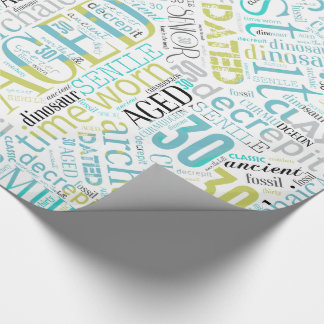 Birthday Word Cloud Thirty Blue ID266 Wrapping Paper