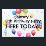 """Birthday Yard Sign with Balloons &amp; Streamers<br><div class=""""desc"""">Colorful Birthday Yard Sign with Balloons and Streamers.</div>"""