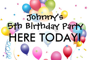 Birthday Yard Sign With Balloons Streamers