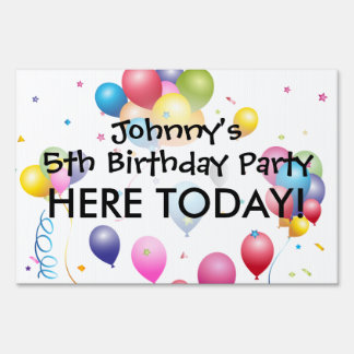 Birthday Yard Sign with Balloons & Streamers