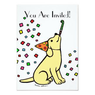 Birthday Yellow Labrador Cartoon Invitations
