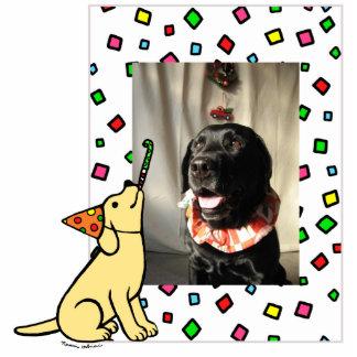 Birthday Yellow Labrador Cartoon Photo Frame Statuette