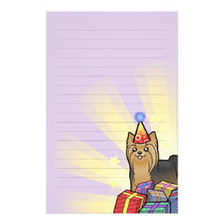 Birthday Yorkshire Terrier (long hair with bow) Stationery