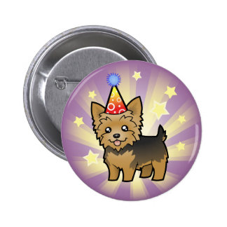 Birthday Yorkshire Terrier (short hair no bow) Pinback Button